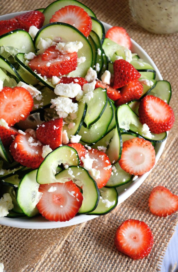 Cucumber & Strawberry Salad with Poppy Seed Dressing