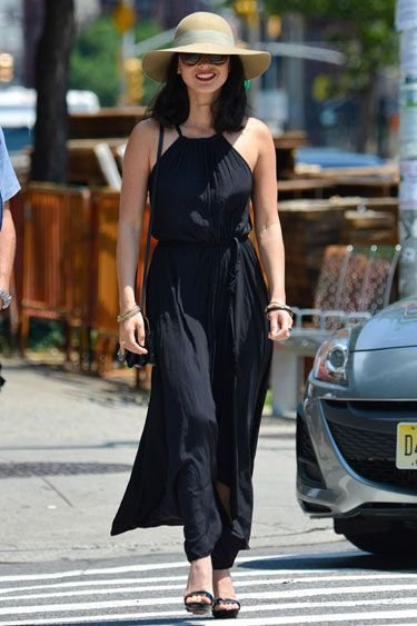 Olivia Munn Goes Boho in a Gauzy Black Maxi