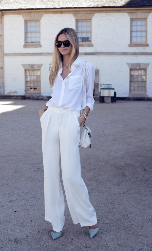 With White Wide Legged Trousers