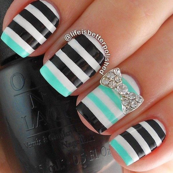Rhinestone bow this is what striped nail art looks like 29 rhinestone bow prinsesfo Image collections