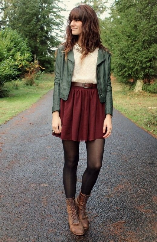 Skirt + Stockings - 7 Adorable High-waisted Outfits to