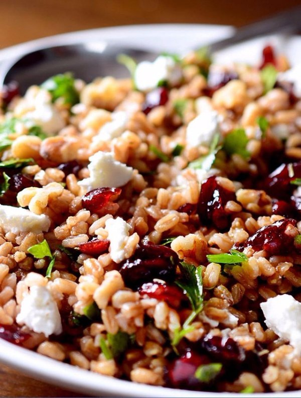 Ahearty Salad with Farro, Cranberries and Goat Cheese All Tossed in a Tangy Balsamic Vinaigrette