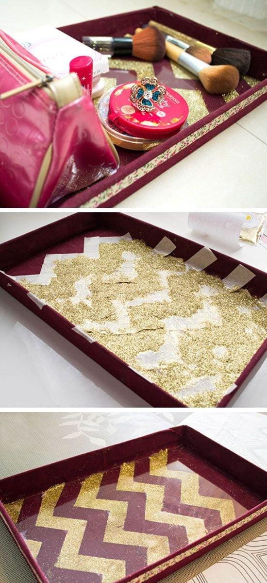 DIY Chevron Glitter Vanity Tray