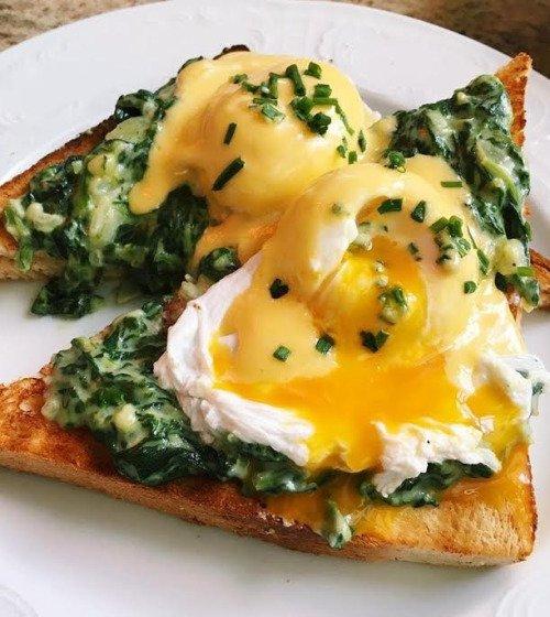 food, dish, meal, eggs benedict, breakfast,