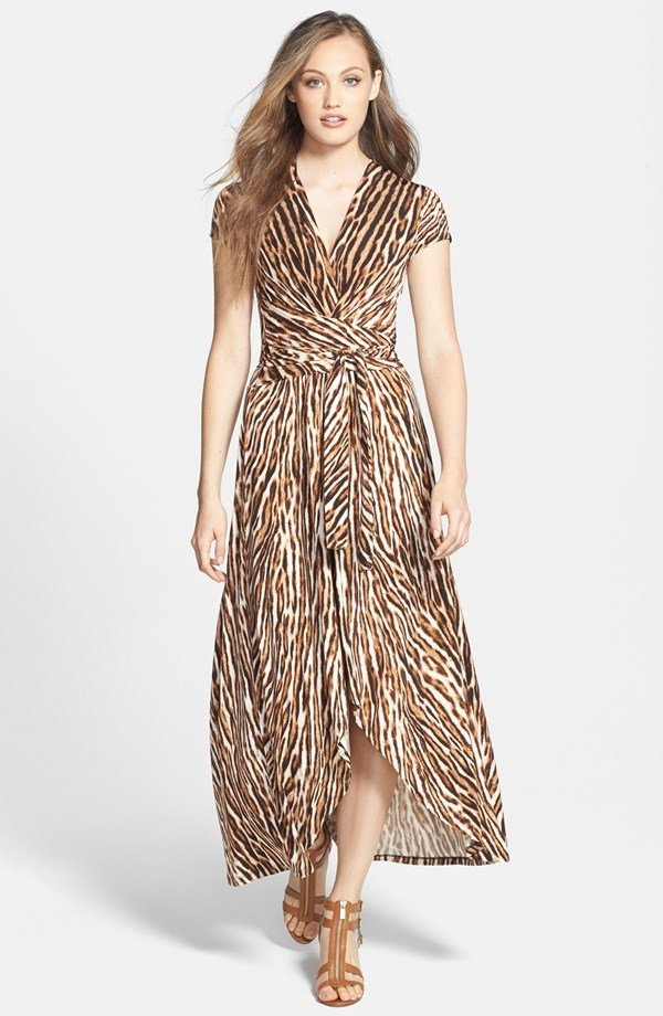 'Mowani' Print Faux Wrap Maxi Dress
