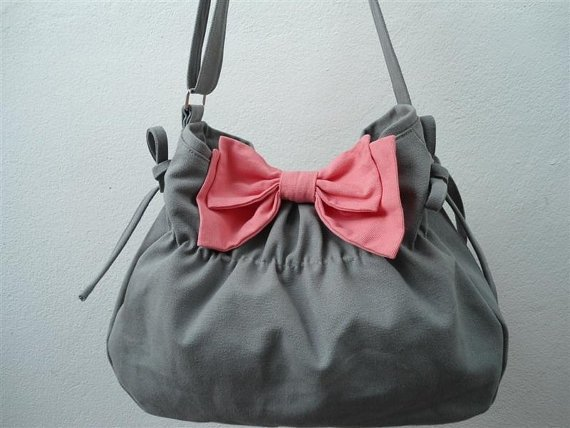 Gray Bag with Pink Bow Purse