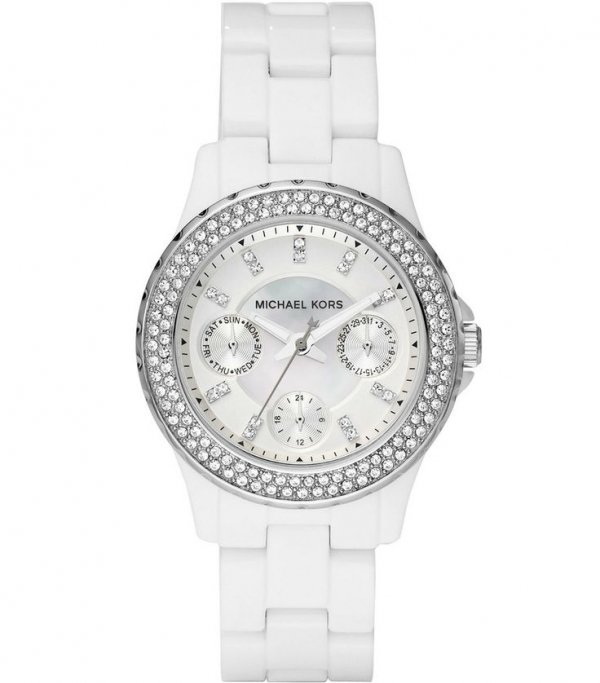 White Acrylic-Strap Glitz Mini Madison Watch