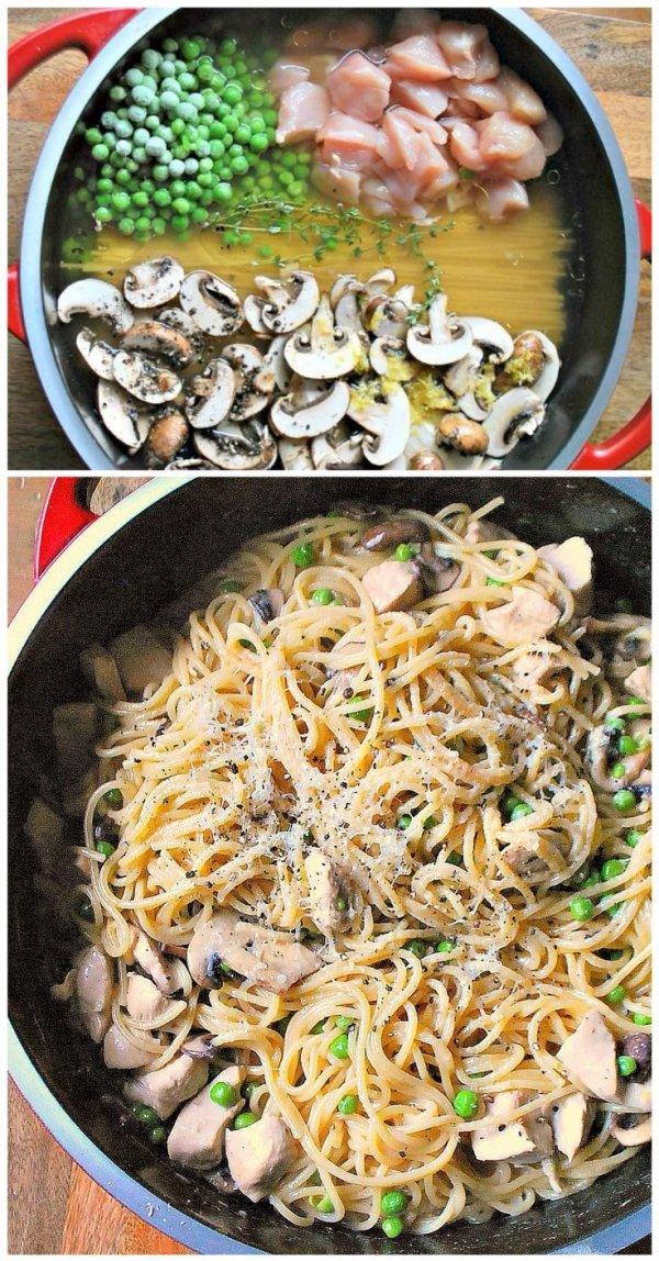 Chicken Mushrooms with Pasta