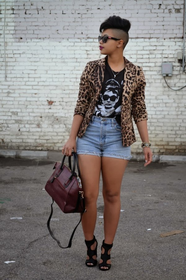 Pair Your High Waisted Shorts with a Graphic Tee and Bold Blazer for an Edgier Look