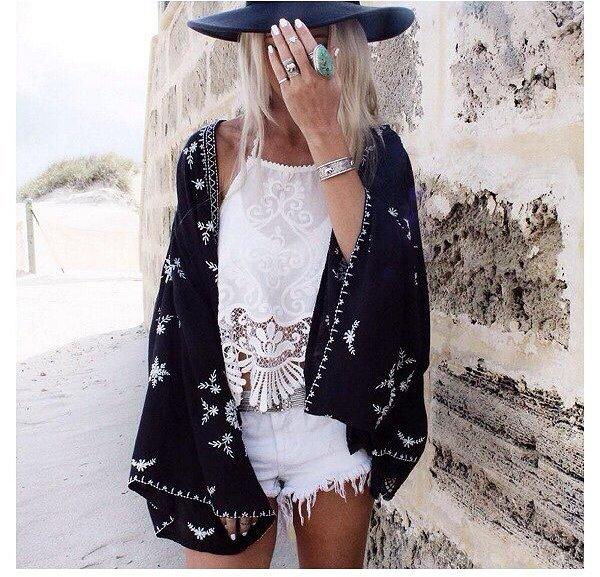 Black Kimono - 40 Kimonos to Throw over Any Top ... …