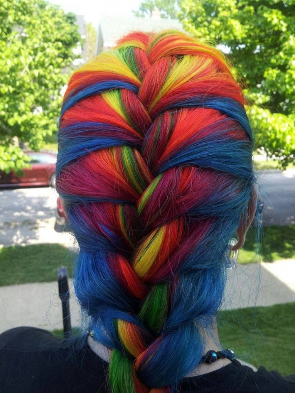 4. Rainbow French Braid - Rainbow Braids That Will Make ... Rainbow Braids
