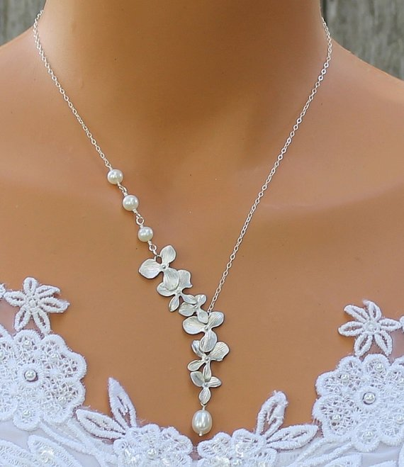 Orchid Necklace with Freshwater Pearls