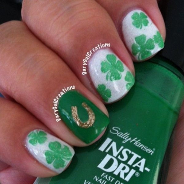 Lucky Horseshoe and Clover - Lucky Horseshoe And Clover - Spread The Luck: 46 Nail Designs For…