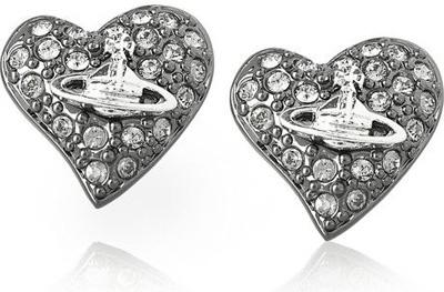 Vivienne Westwood Gunmetal and Diamante Heart Stud Earrings