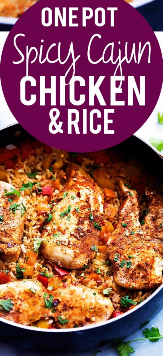 One Pot Spicy Cajun Chicken & Rice