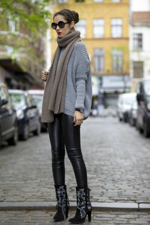 Leather + Oversized Sweater