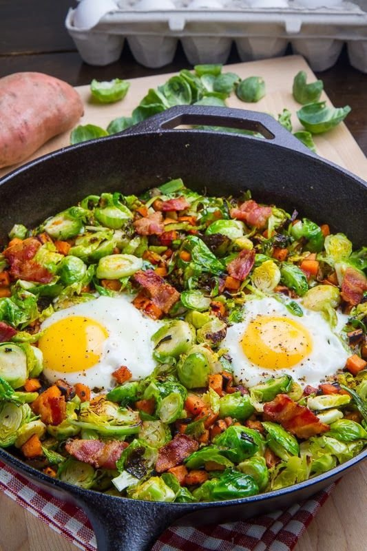 14. Brussels Sprout Hash with Sweet Potato and Bacon - Recipes That…