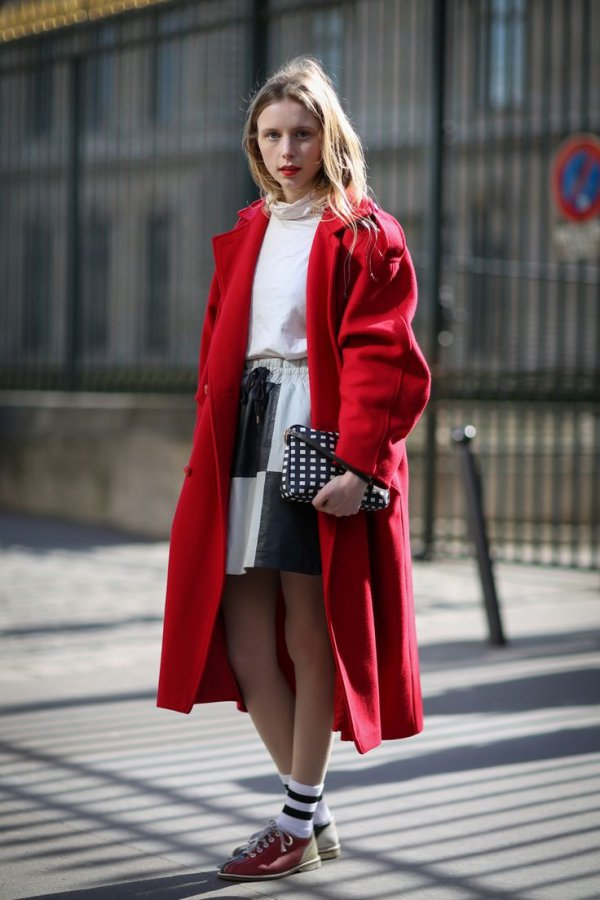 red, coat, fashion, fashion model, outerwear,