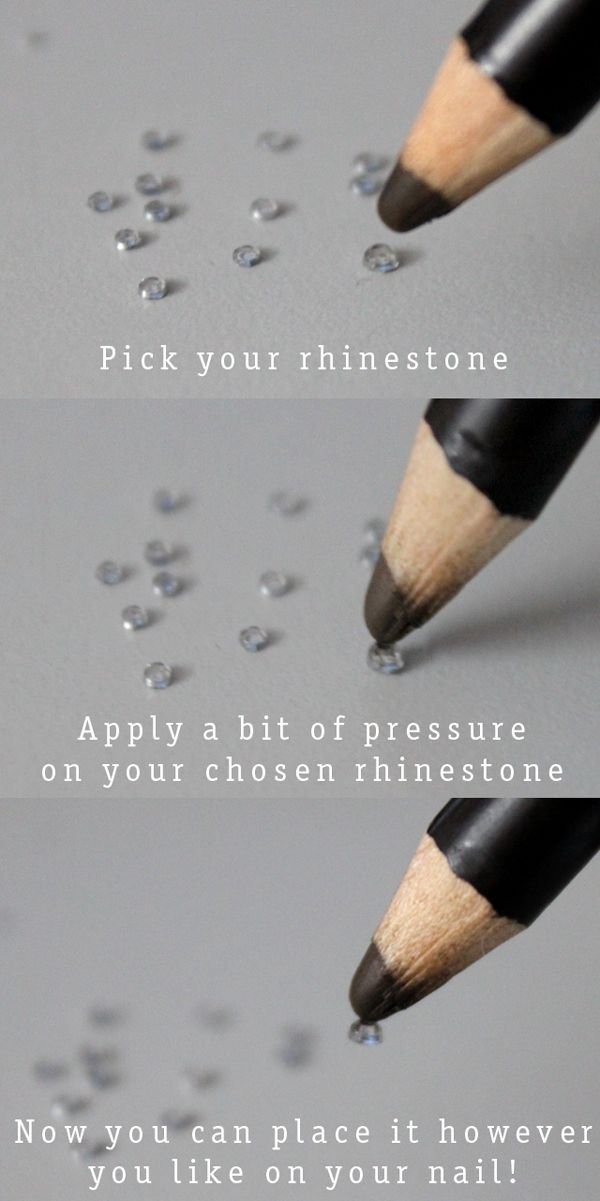 Use a Waxy Pencil to Apply Rhinestones