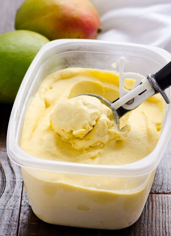 Clean Eating No Churn Mango Ice Cream