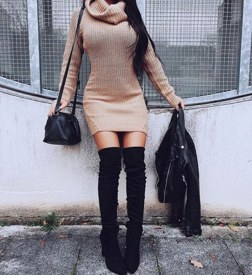 Turtleneck Dress with Knee High Boots