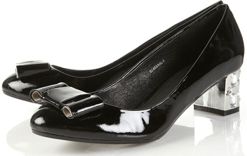 Topshop Jupiter Black Patent Gem Bow Heel Pumps