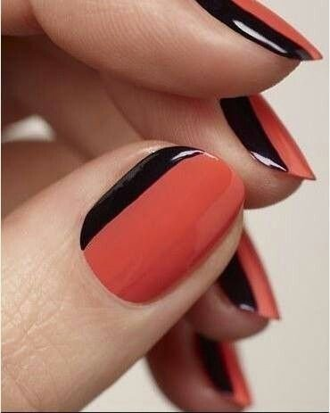 A touch of black on red 23 super easy nail art designs for lazy a touch of black on red nail prinsesfo Gallery