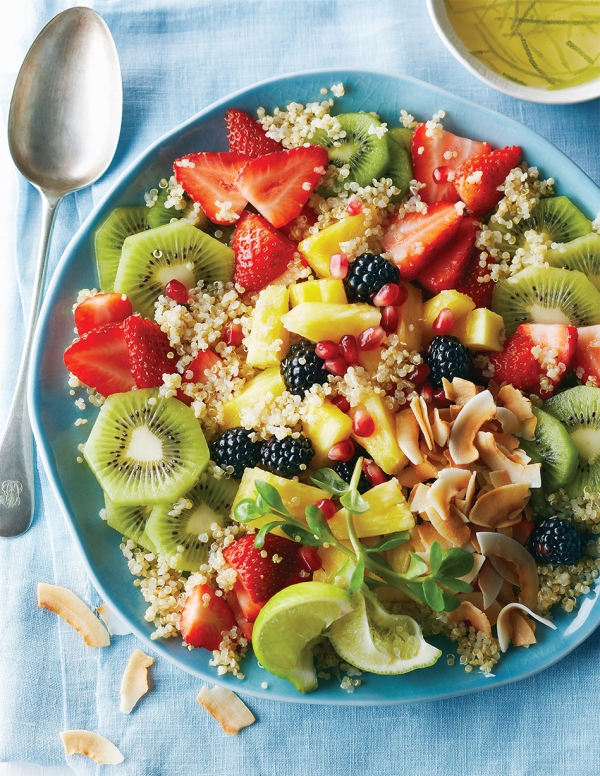 Toasted Coconut Fruit Salad with Quinoa and Pineapple Lime Dressing