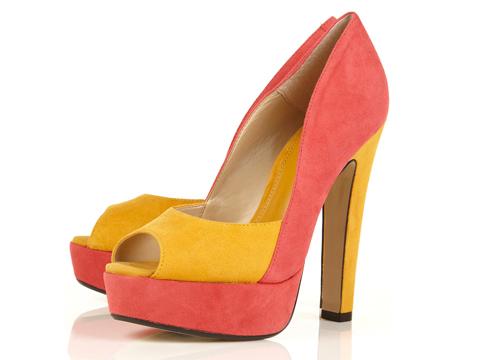 Topshop Sizzle Pink Suede Colour Block Platform Sandals