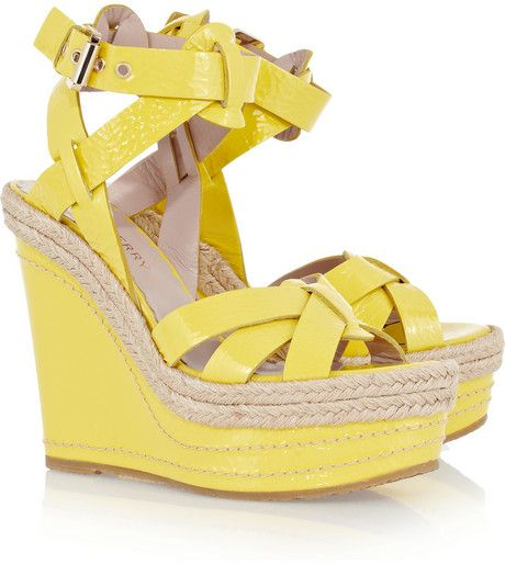 Mulberry Patent Leather Wedge Sandals