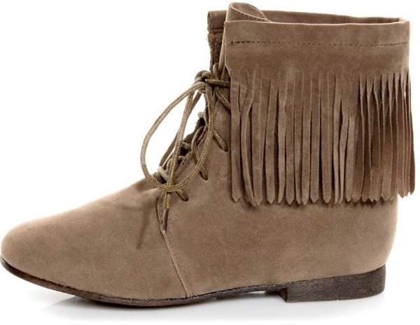 Fringe Lace up Booties