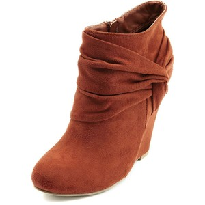 Sueded Side-Knot Wedge Bootie