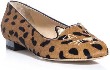 Charlotte Olympia Kitty Leopard Flats