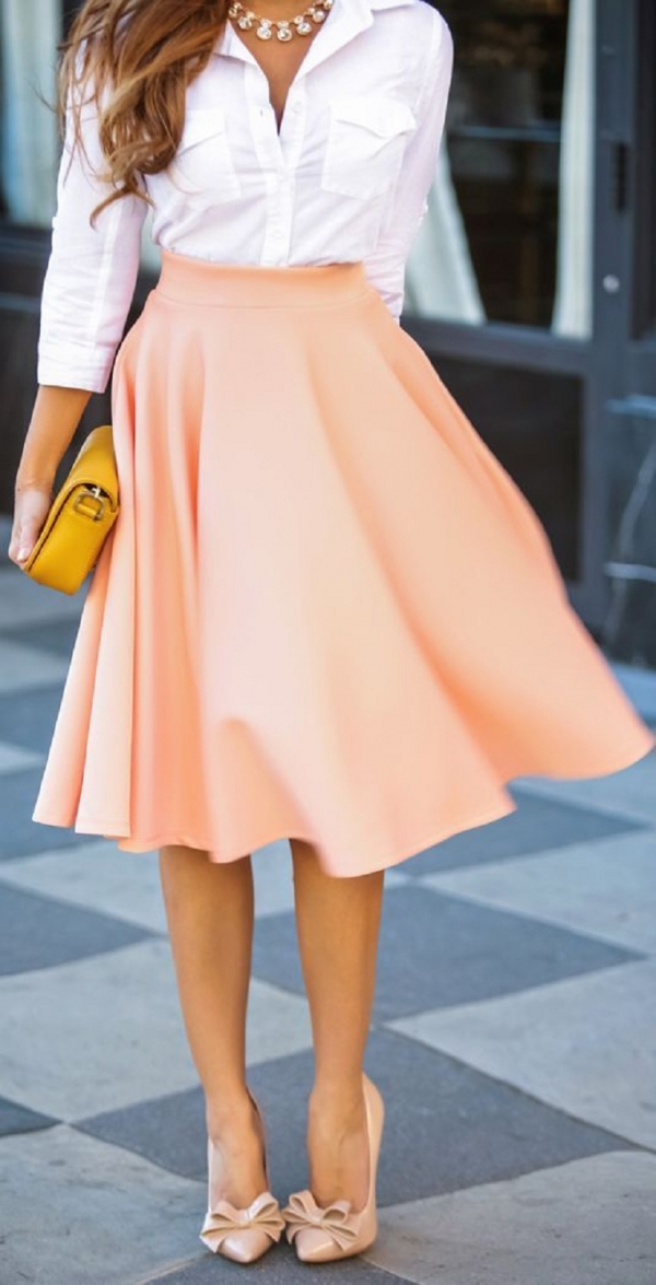 Button-down & Full Skirt: Solids