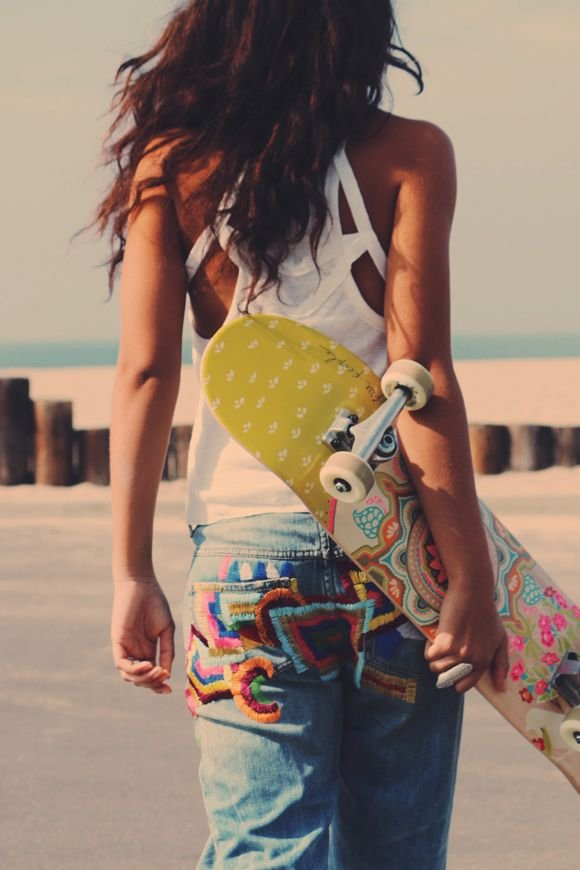 Bright Embroidered Jeans and Cool Cut out Tank