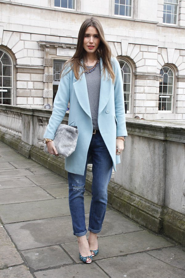 With a Powder Blue Coat and a Grey Tee