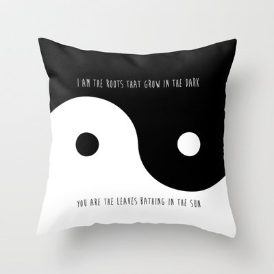 Yin Yang Throw Pillow - Inspirational Home Decor: Quote Throw…