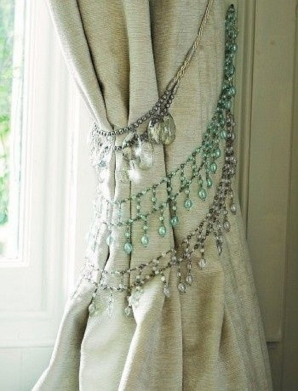 Tie Back Your Curtains with Old Necklaces and Bracelets