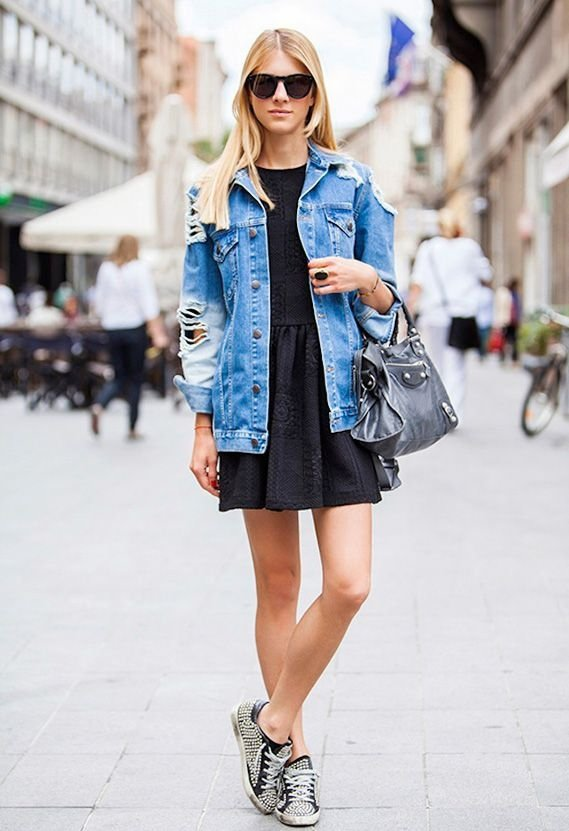 Over a Dress - 7 Street Style Ways to Wear a Denim Jacket ... …
