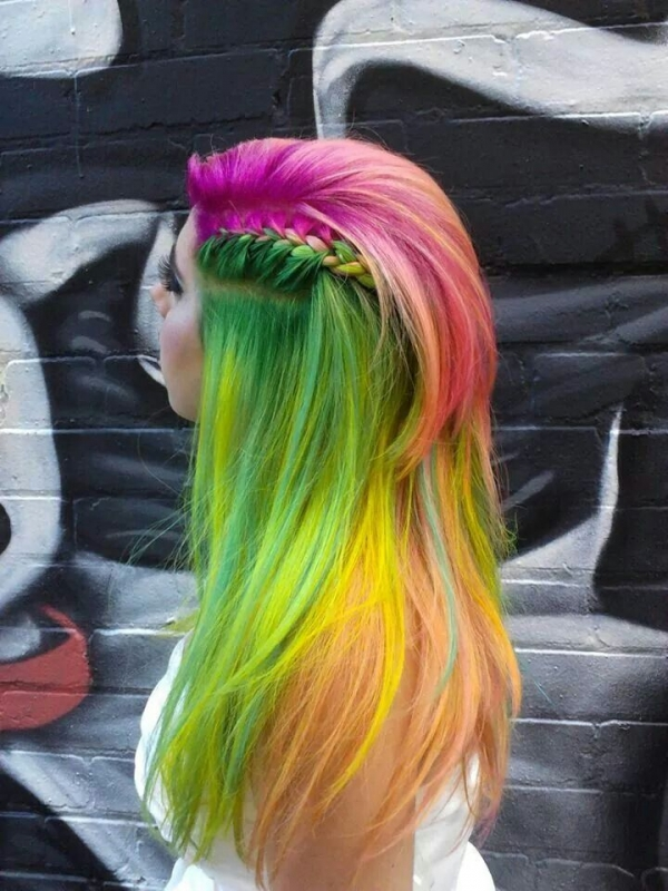 20. Green, Orange and Pink Rainbow - Rainbow Braids That ... Rainbow Braids