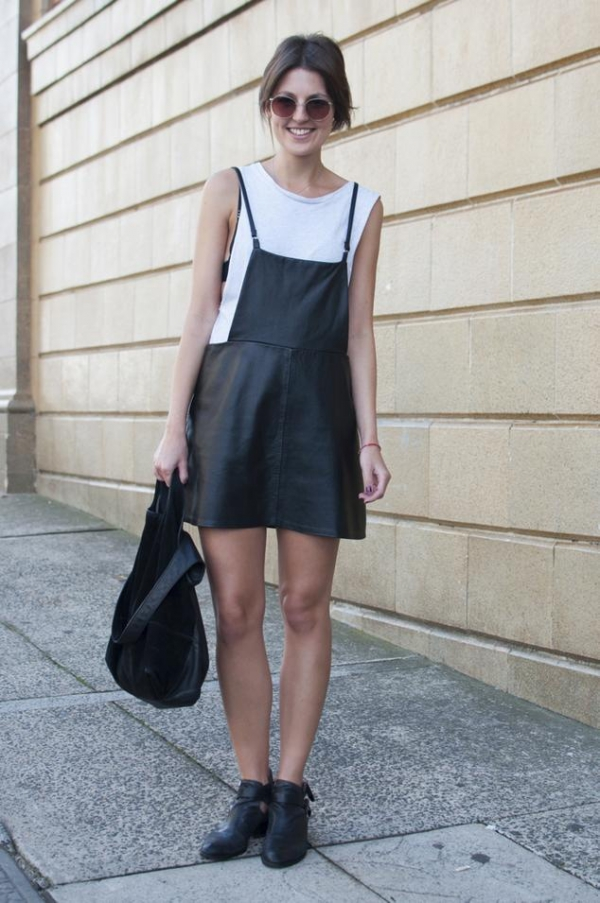 Black Leather Pinafore