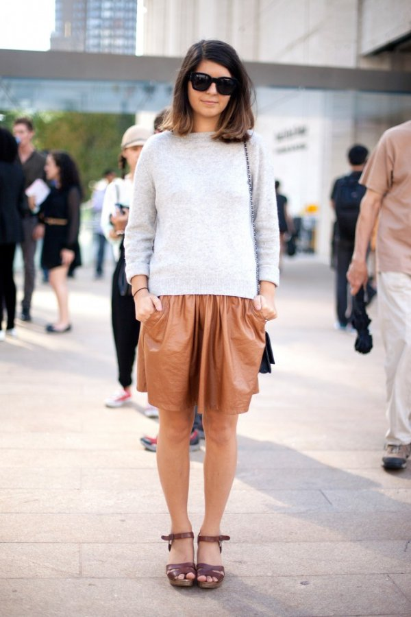 Tan Leather Skirt - 7 Summery and Fabulous Street Style Ways to…