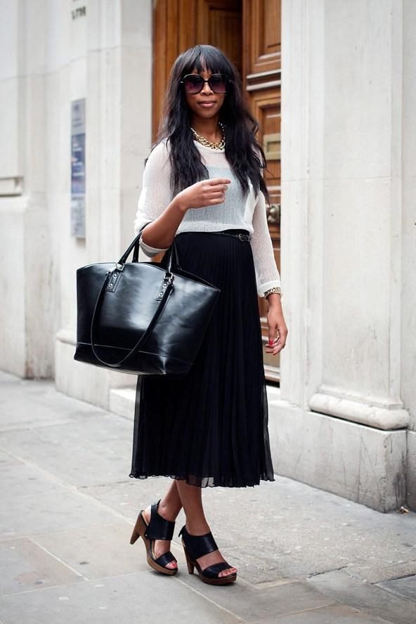 Black Midi Skirt - 13 Street Style Ways to Wear the Midi Skirt ...…