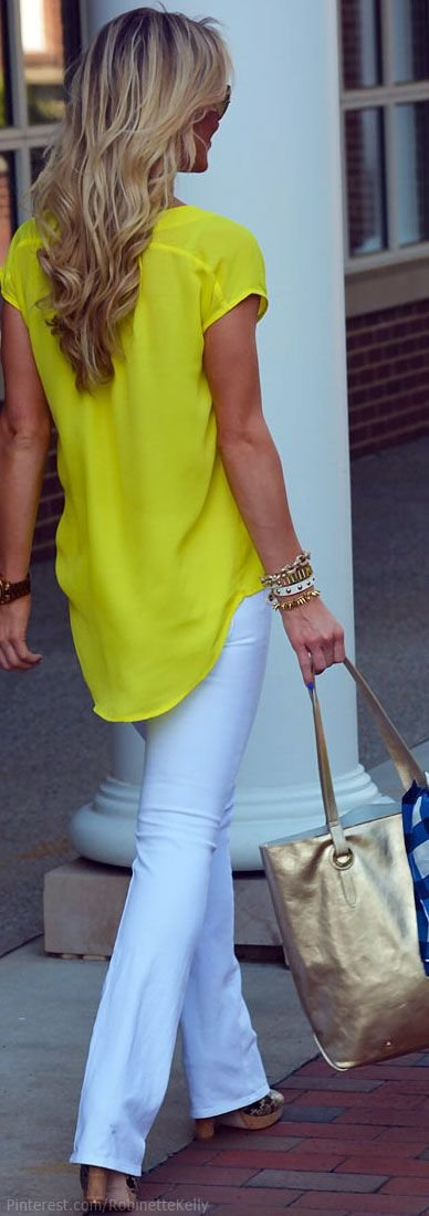 Yellow Top with White Pants - Get Noticed Bright Yellow Fashionu2026