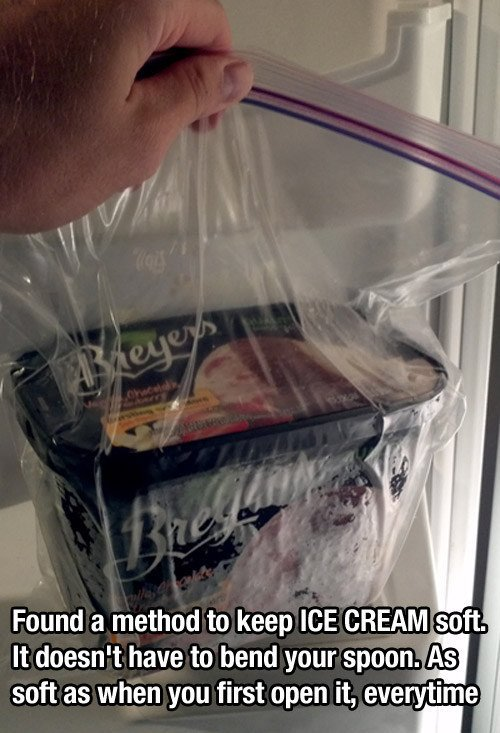 Keep Ice Cream Soft by Putting It in a Ziplock Bag