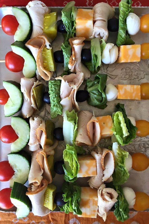 Turkey Sandwich Kebabs with Pickles