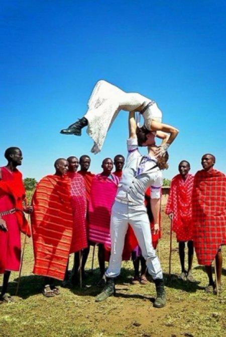 With Members of a Masai Mara Village in Kenya