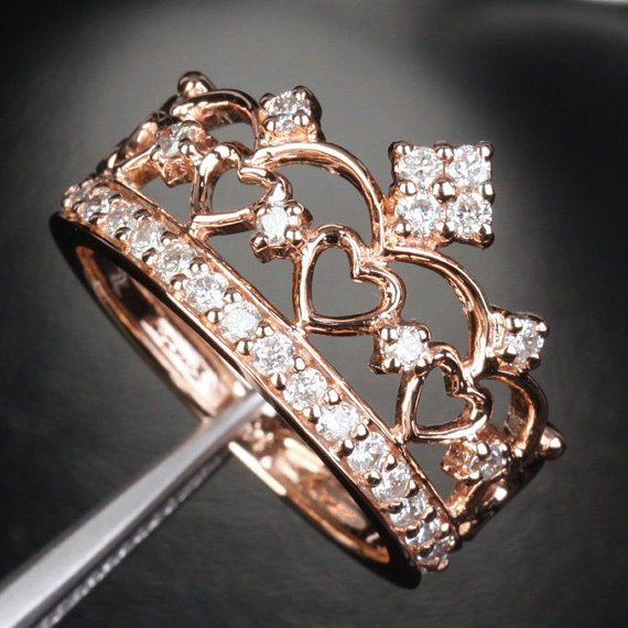 Unique 14K Rose Gold Heart Crown Ring
