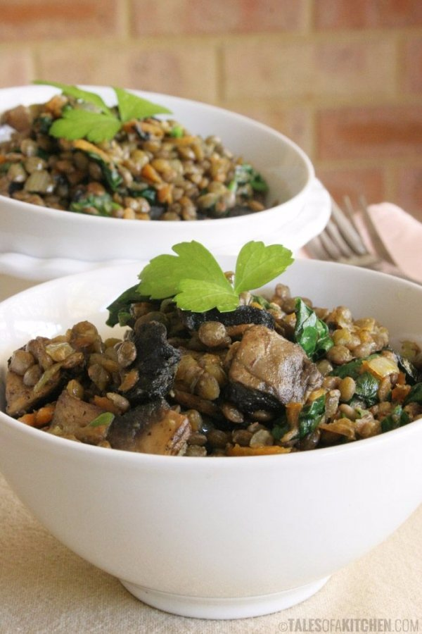 Warm French Lentil Salad with Spinach and Mushrooms