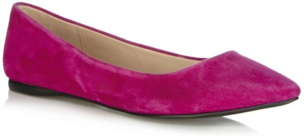 Oasis Pink Suede Point Flat Shoes